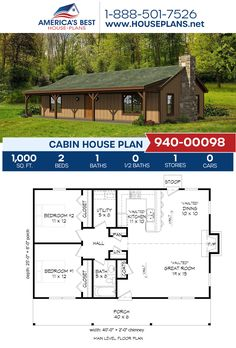 Plan 940-00098 features a 1,000 sq. ft. Cabin home with 2 bedrooms, 1 bathroom, vaulted ceilings, and an open floor plan. #cabin #architecture #houseplans #housedesign #homedesign #homedesigns #architecturalplans #newconstruction #floorplans #dreamhome #dreamhouseplans #abhouseplans #besthouseplans #newhome #newhouse #homesweethome #buildingahome #buildahome #residentialplans #residentialhome Cabin House Plans, Best House Plans, Dream House Plans, Thing 1, Sims 4 Build, Vaulted Ceilings, Cabin Homes, Open Floor, New Construction