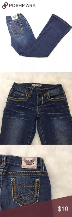 YMI girls jeans size 10 bootcut distress Jeans are in great condition. Thick stitching. Bootcut medium distress. No flaws. •Measurements: Waist: 13.5 inches Hips: 16 inches Rise: 7.5 inches Inseam: 26 inches Length: 34 inches boot cut: 9 inches YMI Bottoms Jeans