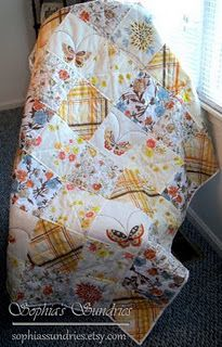 Vintage sheets quilt in orange and browns