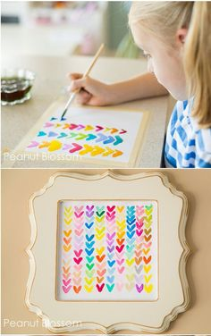 Unbelievably sweet and simple Valentine's keepsake just perfect for brightening up your living room. I actually painted one of these along with my kids, felt great to get a paintbrush in MY hands!