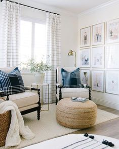Dream Home Master bedroom sitting area. So many of you asked where our Framebridge gallery wall is i Home Bedroom, Home Living Room, Living Room Designs, Living Room Decor, Bedroom Decor, Master Bedrooms, Master Bedroom Chairs, Bedroom Ideas, Living Room Gallery Wall
