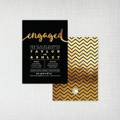 Black and gold is a powerful and modern combination. Use engagement party invitations with this color scheme for celebrations in the evening or the city to reflect the contemporary mood.
