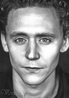 Pencil drawing of Tom Hiddleston aka Loki