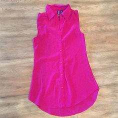 Pink button down tank blouse Pink button down tank blouse Love Always Tops Blouses