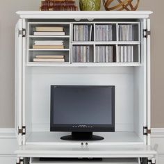 Home Styles Bermuda Brushed White Compact Computer Cabinet And Hutch   Computer  Armoires At Hayneedle