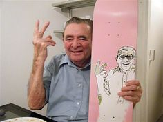 Grampa Naylor at Xmas dinner with his own hand painted pro skateboard graphic. from Matthew Naylor's blog