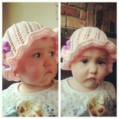 Crocheted this gorgeous spring hat for my little Scarlett easy peasy