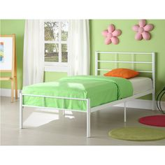twin metal bed frame white