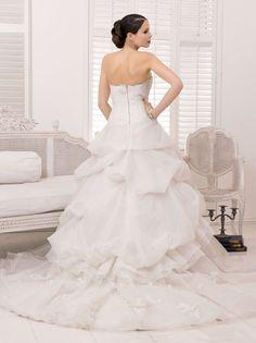 Charming Beauty A Line Sweetheart Lace Ruching Brush Train Organza Wedding Dresses Uk Ed 948