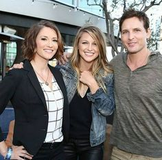 Chyler Leigh and Peter Facinelli sandwiched with Melissa Benoist