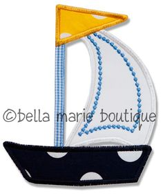 Boutique Machine applique SAIL BOAT summer.