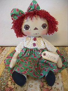 Primitive Raggedy Ann watermelon print dress tag painted face felt watermelon