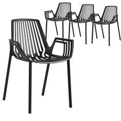 Set of 4 - Hudson Arm Chair - Black
