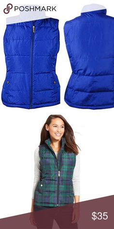 Charter Club // Quilted Puffer Vest Vest features full lining, sleeveless, high collar, quilted polyester fabric, button front pockets, and zipper front. 100% Polyester Full lining: 100% Polyester Front zipper closure Sleeveless Quilted polyester fabric Buttoned front pockets Machine wash  Worn just once & washed! Second picture shown for fit. I am selling blue one. Charter Club Jackets & Coats Vests