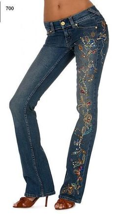 Embroidered Jeans. would be better w/o the colorful crystals