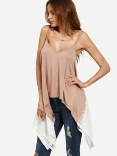 Shop Pink Lace Trim Asymmetric Cami Top online. SheIn offers Pink Lace Trim Asymmetric Cami Top & more to fit your fashionable needs.
