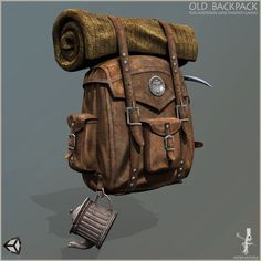 survival old backpack model low-poly rigged max obj mtl fbx unitypackage prefab 6 Writing Fantasy, Fantasy Rpg, Drawing Bag, Figure Drawing, Survival Backpack, Game Props, Prop Design, 3d Design, Animation Tutorial