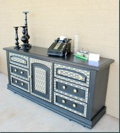 dresser makeovers, painted furniture, paint furnitur, decoupag dresser