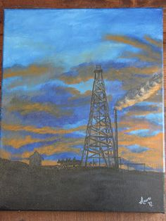 Custom painted canvas of old wooden oil rig night scene.