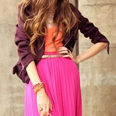 i want a chiffon maxi skirt in a bright color like this for spring/summer!