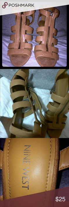 Nine west heels These heels are a brownish tan color and are perfect in the spring or summer. They can be worn at a graduation or any day time event. Nine West Shoes Heels