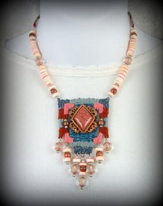 Sonoran Skies 2 Southwestern Woven Necklace with by CindyCaraway Textile Jewelry, Macrame Jewelry, Pin Weaving, Cool Curtains, Micro Macrame, Jewelry Making, City College, Textiles, Jewels