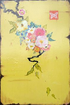 """Kathe Fraga paintings, inspired by the romance of vintage Paris and Chinoiserie Ancienne. """"Vintage Goyard"""", on aged frescoed panel. Art Et Illustration, Illustrations, French Wallpaper, Motifs Textiles, Art Chinois, Romantic Paintings, Mellow Yellow, Contemporary Paintings, Chinoiserie"""