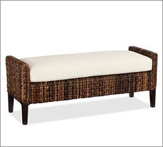 Seagrass Upholstered Bench | Pottery Barn