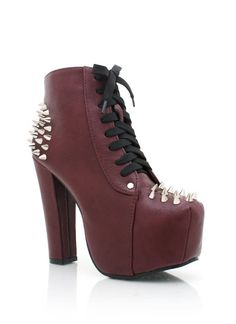 spiked contrast lace platform booties $38.50