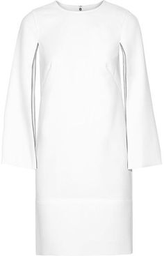 DKNY Cape-effect Stretch-crepe Dress - White - ShopStyle White Cape, Inexpensive Wedding Dresses, Luxe Wedding, Jennifer Fisher, Crepe Dress, Black Ankle Boots, White Dress, Sleeves, Sweaters