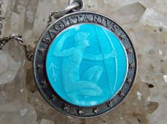 """Sterling Silver and Guilloche Enamel Sagittarius Medllion and 18"""" Sterling…"""