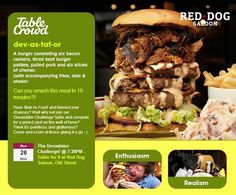 Man (Or Woman) Vs Food - Join other hungry diners on the 26th November and tackle The Devastator Burger at Red Dog Saloon.