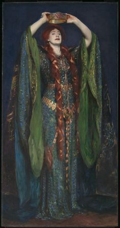 Ellen Terry as Lady Macbeth by John Singer Sargent, Oil. It depicts actress Ellen Terry in a famous performance of William Shakespeare's tragedy Macbeth, wearing a green dress decorated with iridescent beetle wings Lady Macbeth, John Singer Sargent, Sargent Art, Morgana Le Fay, Beaux Arts Paris, Fine Art, American Artists, Oeuvre D'art, Art History