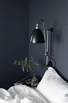 The perfect navy blue moody paint color in bedroom