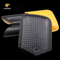 COHIBA Leather 3 Tube Cigar Case Fine Embossed Leather, Black and brand new, elegant and modern designConvenient size, easy to carry with your cigars Leather Cigar Case, Cigar Cases, Black N Yellow, Emboss, Cigars, Pipes, Tube, Brand New, Elegant
