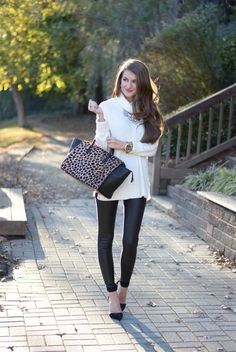 Go for a white cowl-neck sweater and black leather leggings for a casual coffee run. Rock a pair of black suede pumps to instantly up the chic factor of any outfit.  Shop this look for $96:  http://lookastic.com/women/looks/pumps-leggings-tote-bag-watch-cowl-neck-sweater-necklace/6243  — Black Suede Pumps  — Black Leather Leggings  — Black and Tan Leopard Leather Tote Bag  — Gold Watch  — White Cowl-neck Sweater  — Silver Necklace