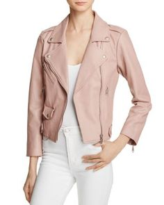 Rebecca Minkoff revs up your outerwear style with this breezy, blush-hued biker jacket. Designed exclusively for us with perforated panels at the inner sleeves and back, this transitional topper lends