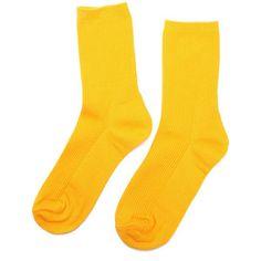 Yoins Yellow Ribbed Socks
