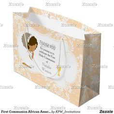 First Communion African American Girl Thank You Large Gift Bag Holiday Cards, Christmas Cards, First Communion Invitations, Custom Gift Bags, African American Girl, Large Gift Bags, Christmas Card Holders, Invitation Design, Boy Or Girl