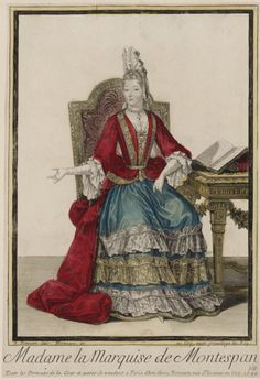 This is another late century print of the Marquise de Montespan lavishly dressed with a Fontanges headdress, fripon curls, mantua, and lace almost. 17th Century Clothing, 17th Century Fashion, 17th Century Art, Historical Art, Historical Costume, Historical Clothing, Marquise, Louis Xiv, Mode Baroque