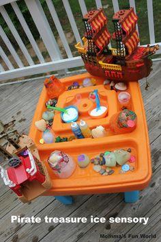 Momma's Fun World: Pirate sensory treasure ice fun