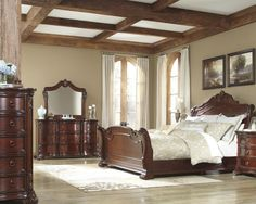bedroom set includes headboard footboard rails dresser mirror chest 2 nightstands features king size sleigh bed rich medium brown cherry finish - Set De Chambre King Size