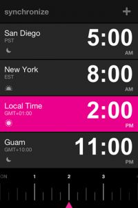 When you need to know what time it is right now in Hong Kong and Austin: Synchronize