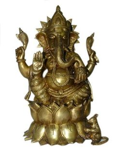 Ganesh Statue Ganpati Idol Elephant Head God Statue Seated on Lotus Flower Brass Sculpture 13 Inch by Mogul Interior, http://www.amazon.com/dp/B00CIJ6CR6/ref=cm_sw_r_pi_dp_CD9Mrb14YSX9A