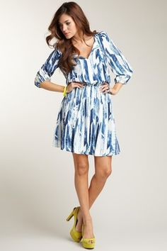 Vince Camuto Keyhole Dress with Pleated Skirt