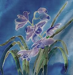 28 x 28 cm silk scarf painted.