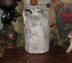 Primitive Ancient Vtg Style Shabby French Country Gray Stoneware Chic Jug Crock