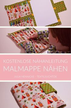 Sew folder for pens and block itself- Malmappe für Stifte und Block selber nähen Here I show you how quickly a pin binder can sew itself. In the binder, you can easily get an block and pens under. Diy Gifts For Girls, Diy For Kids, Baby Crafts, Diy And Crafts, Diy Gifts For Christmas, Origami Diy, Diy Bebe, Cloth Bags, Creative Gifts