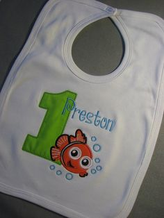 Personalized First Birthday Finding Nemo Fish Bib. Shirt is also available, Sea Animal, Under the Sea, Creature on Etsy, $12.00