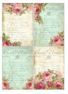 Sheet shabby roses (4 postkaarten) | Sheets | Nostalgie & Brocante